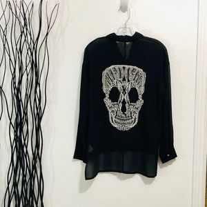Love Culture Sheer Black Blouse Crochet Lace Skull